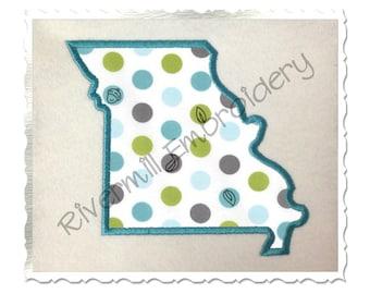 State of Missouri Applique Machine Embroidery Design - 4 Sizes