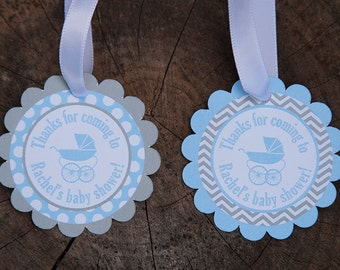 Carriage Baby Shower Thank You Gift Tags - Boy Baby Shower - Blue & Grey - Digital PDF File