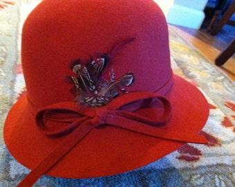 Vintage Ladies Hat Felt Doeskin Rust Color Hat by George Bollman Union Made