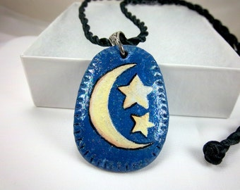 Moon and Stars Pendant, Hand-Painted on Polymer Clay, Celestial,  Black Cord, Silver Bail