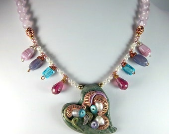Polymer Clay Heart Necklace, Clay and Pearls, Rainbow Colors, Freshwater Pearls, One-of-a-Kind