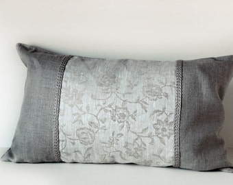 Linen Pillow Cover Combined from Natural and Floral Jacuard Fabrics