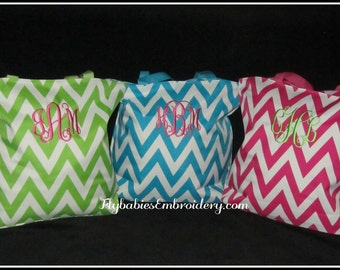 Set of 3 Personalized Chevron Totes / Personalized Bridesmaid Tote / Chevron Diaper Bag