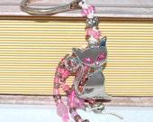 Pink Cat OOAK Hot Pink Eyes Beaded Bookmark Pink Rhinestone and Beading Free Blank Journal