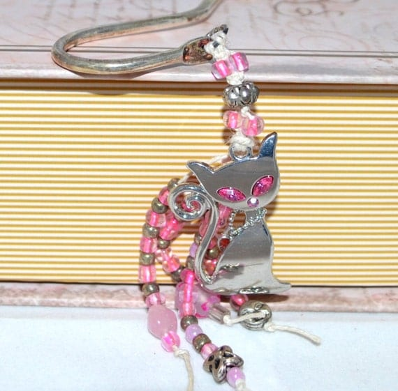 Pink Cat OOAK Hot Pink Eyes Beaded Bookmark Pink Rhinestone and Beading Free Blank Journal