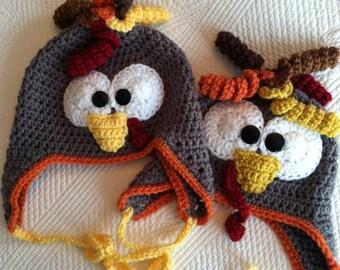 Turkey Hat, Child Animal Hat, Turkey Hat, Crochet Baby Hat, Winter Hat, Baby Hat, Newborn Hat, Child Hat