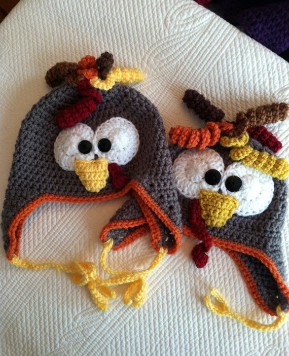 Turkey Hat, Child Animal Hat, Turkey Hat, Crochet Baby Hat, Winter Hat, Baby Hat, Newborn Hat, Child Hat