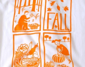 Flour Sack Dish Towel - Fall: Squash