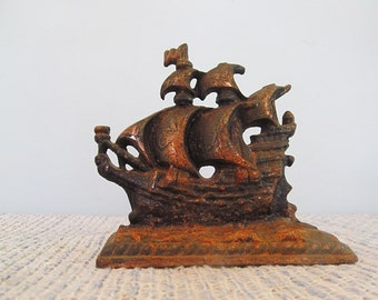 Rusty Cast Iron Schooner Sailing Ship Masculine Decor Bookend Home Office Accessory