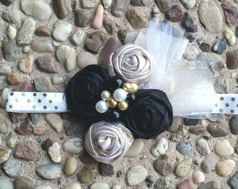 Black and Gold Rosette Headband / Clip / Brooch Pin w/Gold and White Tulle and Pearl Center / Dupioni Silk / Lightweight