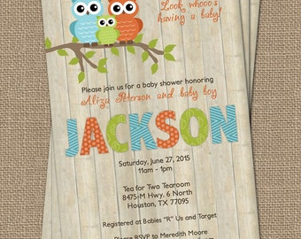 Owl baby boy shower invitation with wood background, orange/green/light teal, digital, printable file