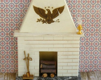 Vintage Dollhouse Fireplace and Tools with marble hearth stacked logs Miniature furniture