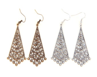 Silver Filigree Earrings, Vintage Style Bohemian Jewelry, Gifts For Wife Under 25, Simple Ornate Jewelry Gift, Beautiful Detailed Earrings