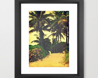 Surf Print | Palm Tree Print | Peaceful Palm Lined Beach Path Art Print | Beach Photography | Vintage Inspired Retro Surfer Chic Wall Decor