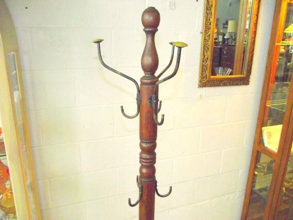 Antique Oak Wood Spindle Coat Hook Tree Hat Rack Stand