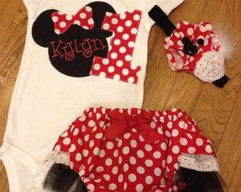 Mouse birthday outfit in red polka dot