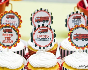 Fire Truck 2 Inch Party Circles, Instant Download, Printable, Cupcake Toppers, Favor Tags, Decorative Circles