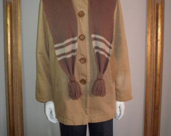 CLEARANCE Vintage 1970's Anne David Casuals Coat with Detachable Knit Hood/Scarf - Size Large