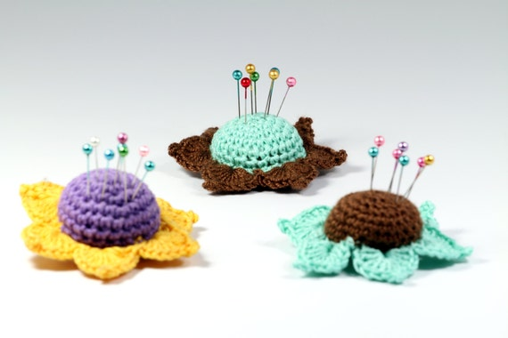 Crochet Flower Pincushion Pattern : Crochet Pattern Flower Pincushion Pincushion PDF Pattern ...