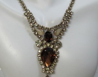 Vintage Juliana Topaz and Yellow Rhinestone Necklace