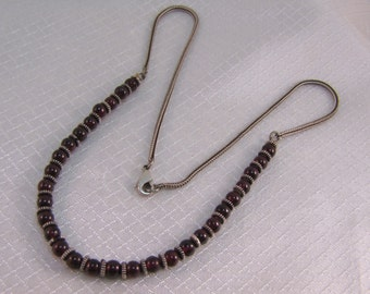 "17"" Sterling and Garnet Bead Necklace"