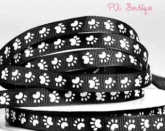 """Adorable! 5YDS x 3/8"""" Black & White PAW PRINT Grosgrain Ribbon"""