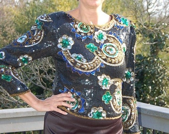 Vintage Scala  Pure Silk Sequined & Beaded Blouse - Sz Large L