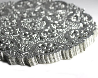 100 Silver 12 inch paper doilies, silver foil doilies, metallic doiles, wedding trim, paper craft trim Free Shipping