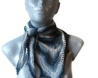 Knitted Scarf Lace Triangle Shaped Grey White Soft Bamboo Yarn