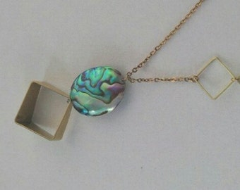 "Long 30"" Abalone necklace with geometry accent, the rear big abalone pendant has beautiful iridescent of green, bule, purple on it"