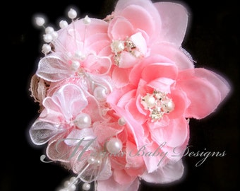 Light Pink Flowered Hair Clip