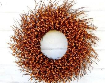 FALL WREATH-Mustard TWIG Door Wreath-Fall Twig Wreath-Rustic Wreath-Autumn Berry Wreath-Fall Home Decor-Front Door Decor-Choose Scent