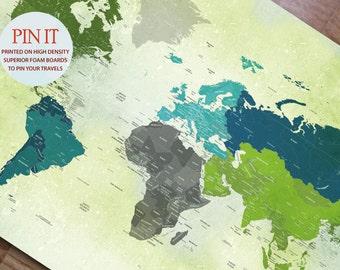 World Map Mounted on Foam Board, Push Pin Map, World Travel, Honeymoon, Vacation Art, Paper Gift