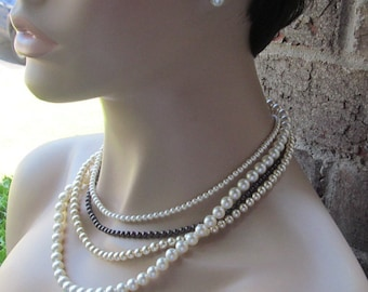 Bridal Pearl Bridesmaid Jewelry Set Multi Strand Ivory Brown Champagne Pearl Necklace & Earrings Wedding Jewelry