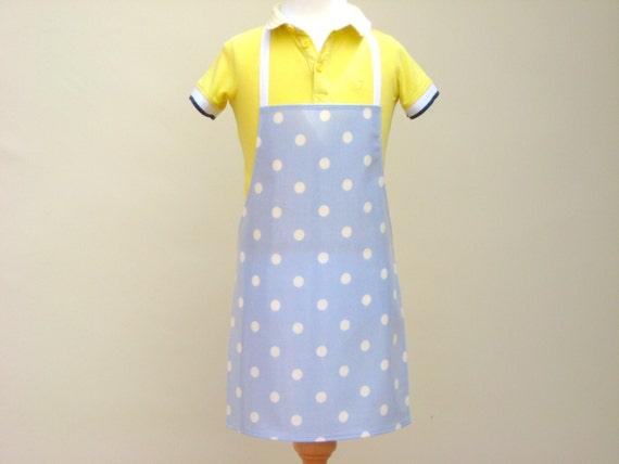 Child's Pvc Apron Pale Blue with White Spots - Olicloth Apron, Waterproof Apron