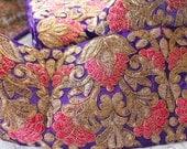 1 Yard Floral Leafy Design Blue Fabric Trim-Embroidered Fabric Trim-Sari Border Trim-Gold Floral Leaves on Blue Fabric-Silk Ribbon Trim