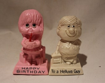 Vintage 1970s Adorable Happy Birthday and To A Helluva Guy Figurines by OR & W Berries Company