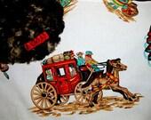 Western Vintage Retro Cowboy Indians Chief Teepee Stagecoach Bedding  Blanket Crib