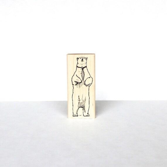 Mr. Bradley Stemke the Polar Bear Hand-Assembled Wooden Rubber Stamp