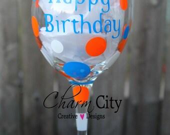 Happy Birthday Wine 20 oz Glass Personalized