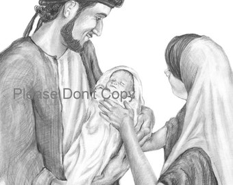 5X7 Christmas Nativity Print - Joseph, Mary and Jesus- Free Option to Add Text