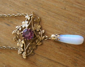 Beautiful Vintage Necklace with Purple Rhinestone and Dangle Moonstone (2439)