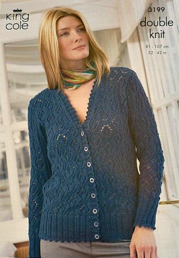 Womens Knitting Pattern K3199 Ladies Long Sleeve V-Neck Lacy