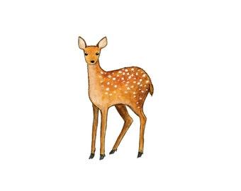 Deer Watercolor Painting - 5 x 7 - Kids Wall Art - Woodland Nursery