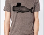 Whale wearing a Tophat Unisex T Shirt American Apparel XS, S, M, L, XL 9 Colors Arm Fin Tattoo Cigar