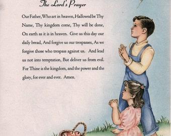1944 The LORD'S PRAYER lithograph Nursery decor Bible Christian prints childs room religious prints boy girl framable wall art