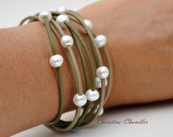 Leather and Pearl Bracelet Multi-Strand Green with White Pearls - Pearl and Leather Jewelry Collection