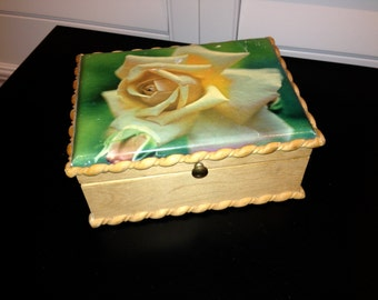 Rose Decoupaged Wood Vintage Victorian Jewelry Box withred velvet lined interior and mirror