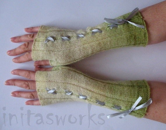Fingerless Gloves Mittens Green White Arm Warmers and Soft Acrylic, Mohair