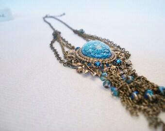 Vintage Necklace, Large Pendant, Blue Necklace, Victorian, Renaissance
